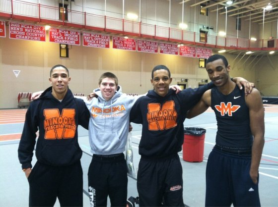 Minooka closed meet with 3:28.84 4x4r banger/Nick Lundin photo